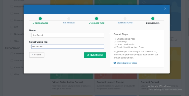 naming your funnel and adding a group tag in clickfunnels