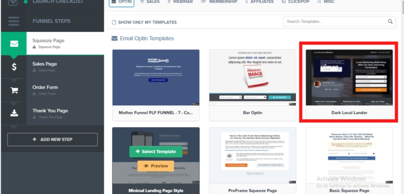 squeeze pages in clickfunnels